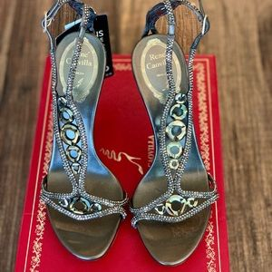 René Caovilla Swarovski crystal leather sandals